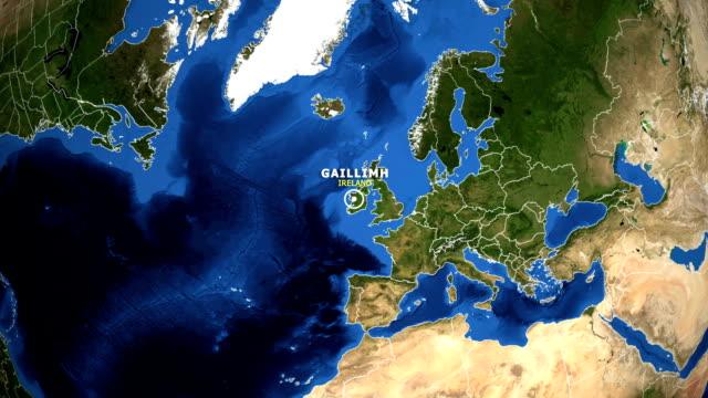 земля увеличить на карте - ирландия gaillimh - линия экватора стоковые видео и кадры b-roll