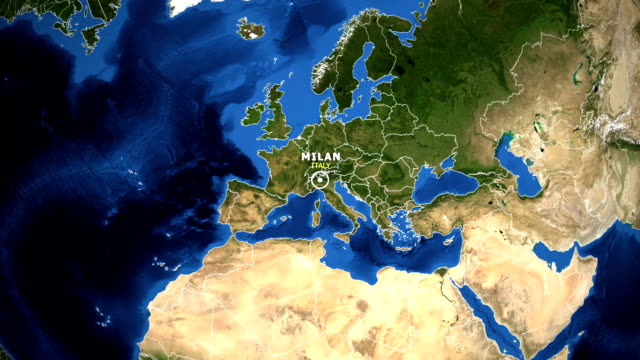 earth zoom in map - italy milan - lombardia video stock e b–roll