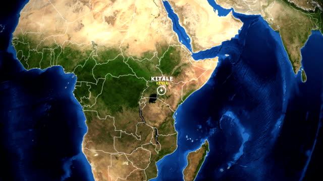 vídeos de stock e filmes b-roll de earth zoom in map - kenya kitale - quénia