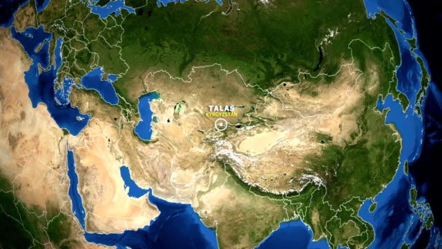 地球變焦地圖-吉爾吉斯斯坦塔拉斯 - 亞洲中部 個影片檔及 b 捲影像