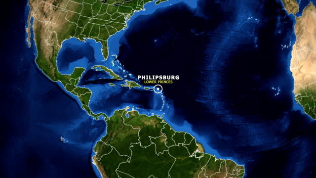 earth zoom in map - lower princes philipsburg - philipsburg saint martin olandese video stock e b–roll