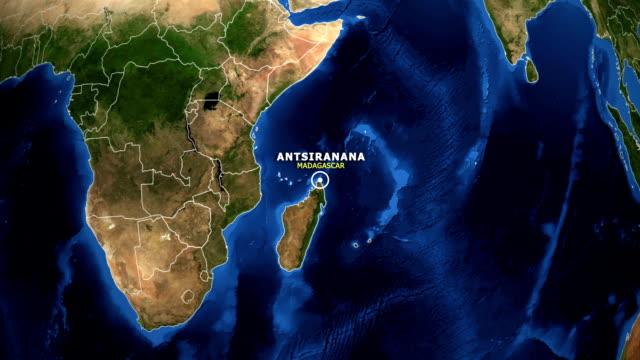 earth zoom in map - madagascar antsiranana - antsiranana video stock e b–roll