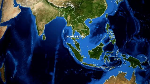 vídeos de stock e filmes b-roll de earth zoom in map - malaysia alor setar - alor setar