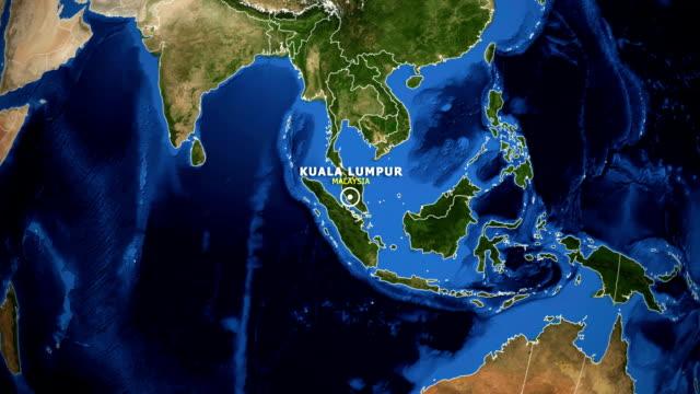 earth zoom in map - malaysia kuala lumpur - malaysia video stock e b–roll