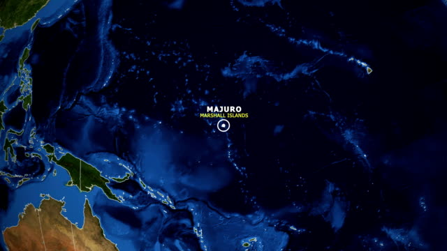 earth zoom in map - marshall islands majuro - majuro video stock e b–roll