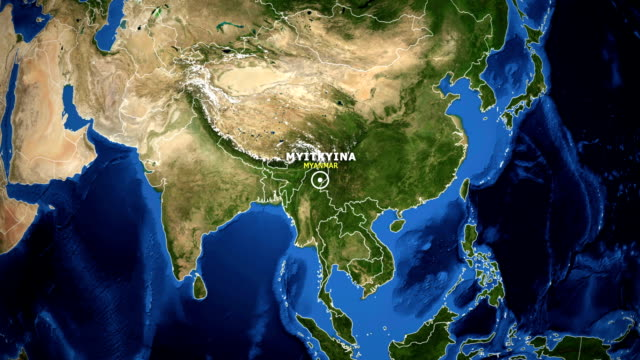 EARTH ZOOM IN MAP - MYANMAR MYITKYINA MYANMAR MYITKYINA ZOOM IN FROM SPACE kachin state stock videos & royalty-free footage