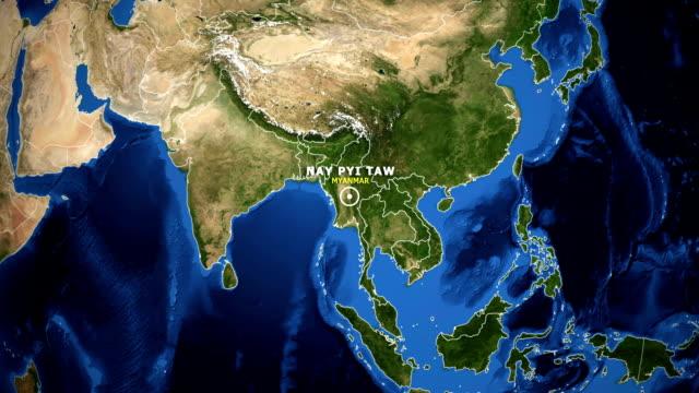 earth zoom in map - myanmar nay pyi taw - naypyidaw video stock e b–roll