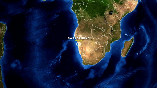 EARTH ZOOM IN MAP - NAMIBIA SWAKOPMUND NAMIBIA SWAKOPMUND ZOOM IN FROM SPACE swakopmund stock videos & royalty-free footage