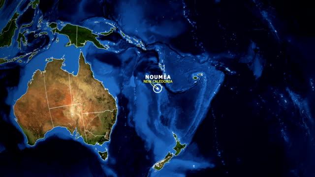 jorden zooma in karta - nya kaledonien noumea - ekvatorn latitud bildbanksvideor och videomaterial från bakom kulisserna