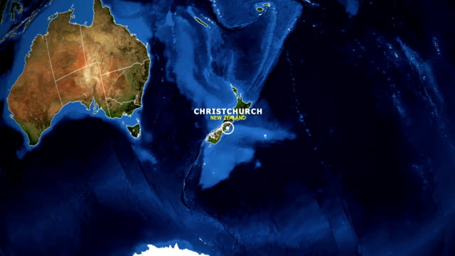 earth zoom in map - new zealand christchurch - christchurch nuova zelanda video stock e b–roll