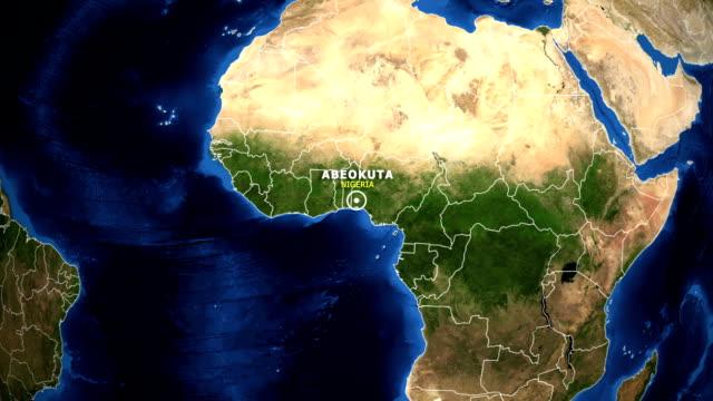 jorden zooma i kartan - nigeria abeokuta - ekvatorn latitud bildbanksvideor och videomaterial från bakom kulisserna