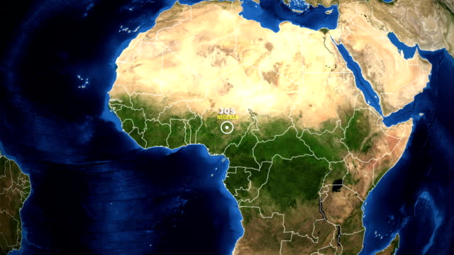 earth zoom in map - nigeria jos - jos nigeria video stock e b–roll