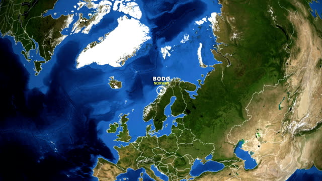 EARTH ZOOM IN MAP - NORWAY BODO NORWAY BODO ZOOM IN FROM SPACE equator line stock videos & royalty-free footage