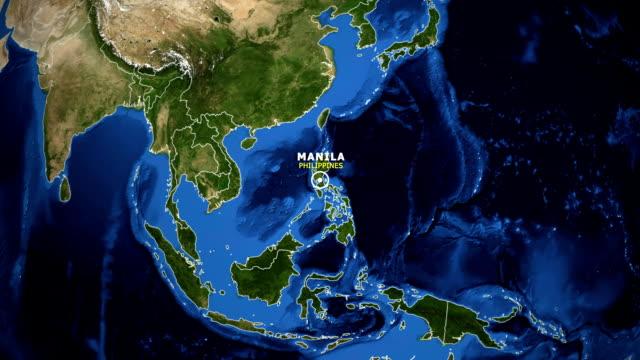 mappa earth zoom in - filippine manila - filippino video stock e b–roll