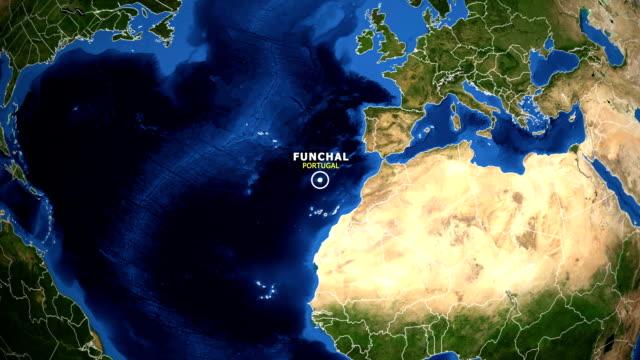 vídeos de stock e filmes b-roll de earth zoom in map - portugal funchal - funchal madeira