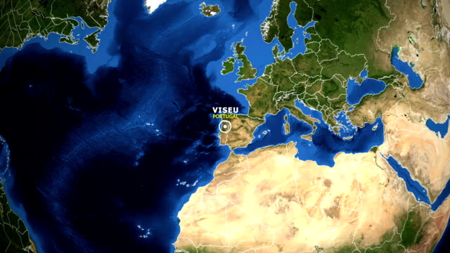 vídeos de stock e filmes b-roll de earth zoom in map - portugal viseu - portugal map