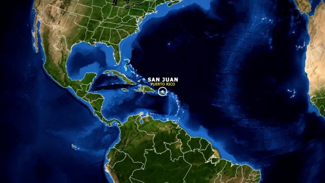 EARTH ZOOM IN MAP - PUERTO RICO SAN JUAN PUERTO RICO SAN JUAN ZOOM IN FROM SPACE puerto rico stock videos & royalty-free footage
