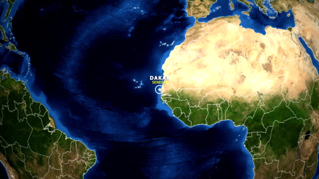 earth zoom in map - senegal dakar - dakar video stock e b–roll