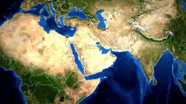 stockvideo's en b-roll-footage met earth inzoomen kaart - saoedi-arabië, riyad - riyad
