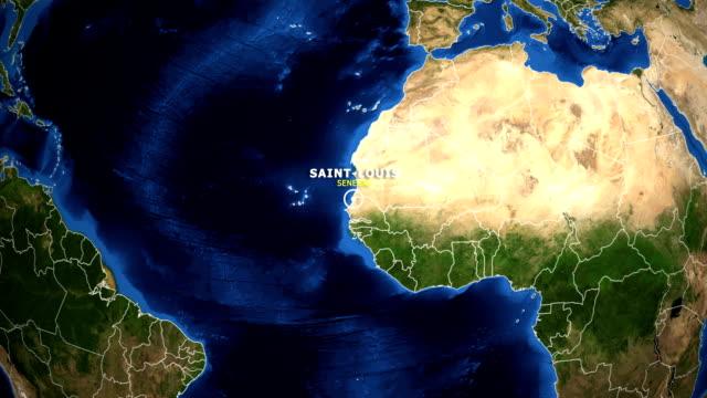 mappa zoom terra - senegal saint louis - senegal video stock e b–roll