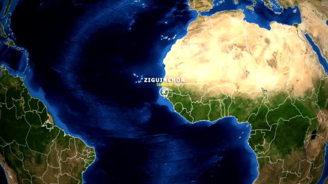 EARTH ZOOM IN MAP - SENEGAL ZIGUINCHOR SENEGAL ZIGUINCHOR ZOOM IN FROM SPACE ziguinchor stock videos & royalty-free footage