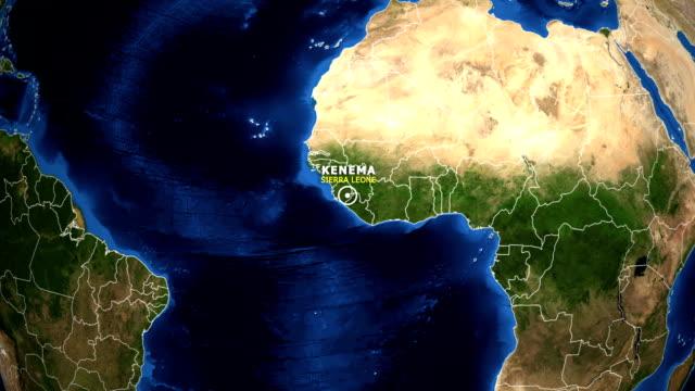 earth zoom in map - sierra leone kenema - sierra leone video stock e b–roll