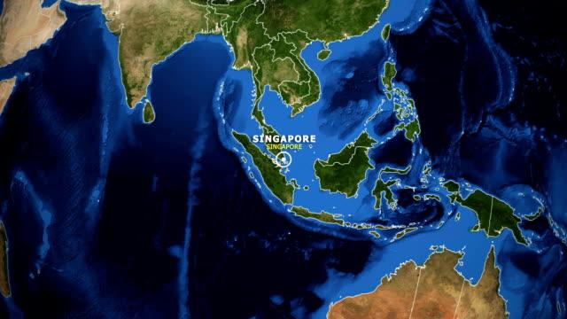 earth zoom in map - singapore singapore - sud est asiatico video stock e b–roll