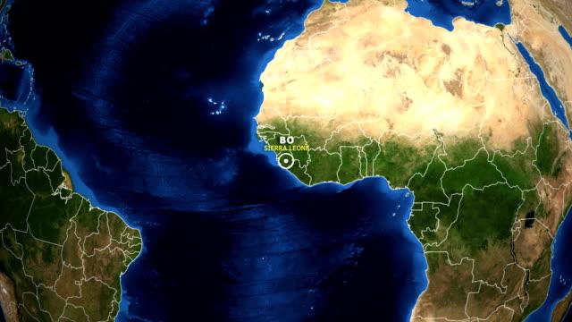 earth zoom in map - sierra leone bo - sierra leone video stock e b–roll