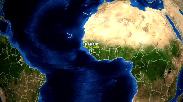 earth zoom in map - sierra leone makeni - sierra leone video stock e b–roll