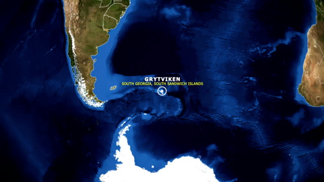 EARTH ZOOM IN MAP - SOUTH GEORGIA SOUTH SANDWICH ISLANDS GRYTVIKEN SOUTH GEORGIA SOUTH SANDWICH ISLANDS GRYTVIKEN ZOOM IN FROM SPACE grytviken stock videos & royalty-free footage