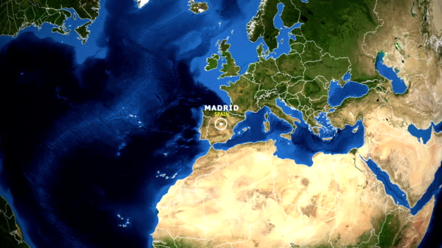 earth zoom in map - spain madrid - madrid video stock e b–roll