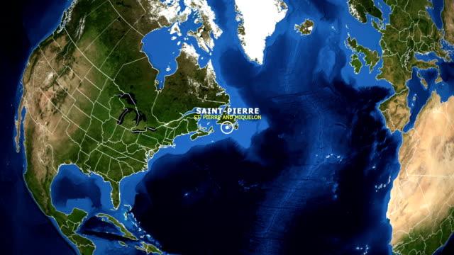 earth zoom in map - st pierre and miquelon saint pierre - sierra leone video stock e b–roll