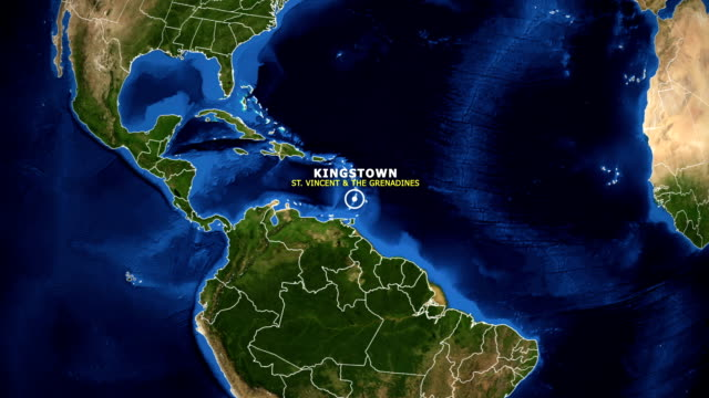 earth zoom in map - st vincent & the grenadines kingstown - kingstown video stock e b–roll