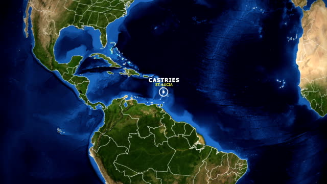 earth zoom in map - st lucia castries - sierra leone video stock e b–roll