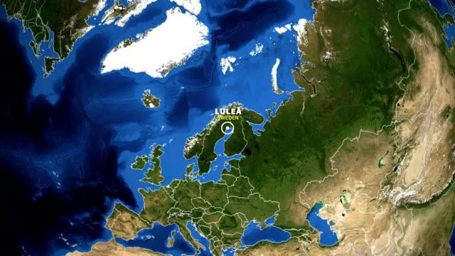 jorden zooma i kartan - sverige luleå - norrbotten bildbanksvideor och videomaterial från bakom kulisserna