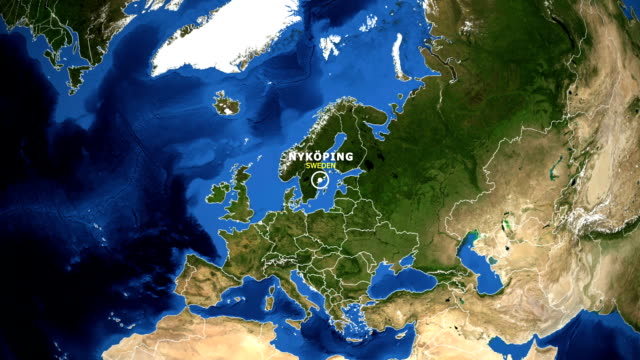EARTH ZOOM IN MAP - SWEDEN NYKOPING SWEDEN NYKOPING ZOOM IN FROM SPACE nyköping stock videos & royalty-free footage