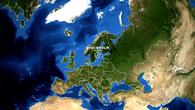 jorden zooma i kartan - sverige stockholm - stockholm bildbanksvideor och videomaterial från bakom kulisserna