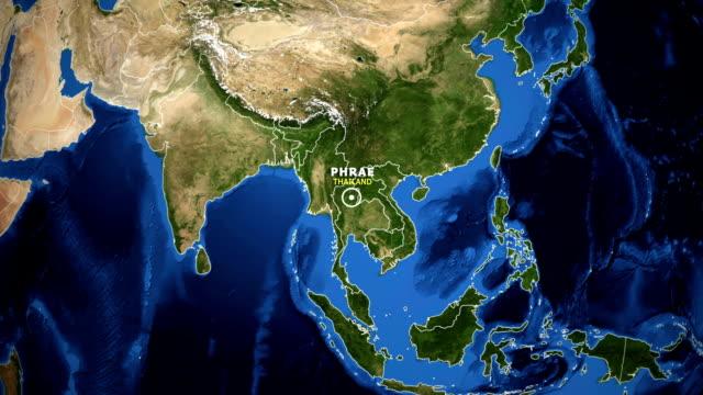 jorden zooma i kartan - thailand phrae - ekvatorn latitud bildbanksvideor och videomaterial från bakom kulisserna