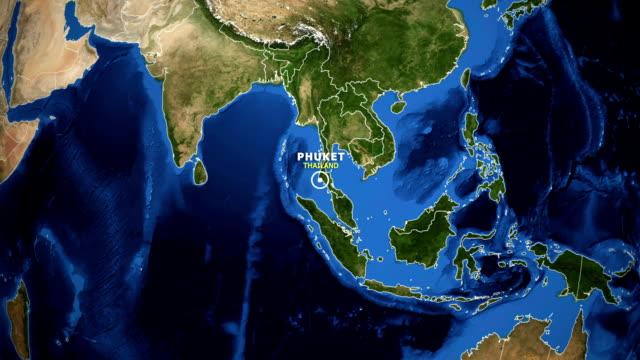 jorden zooma i kartan - thailand phuket - provinsen phuket bildbanksvideor och videomaterial från bakom kulisserna