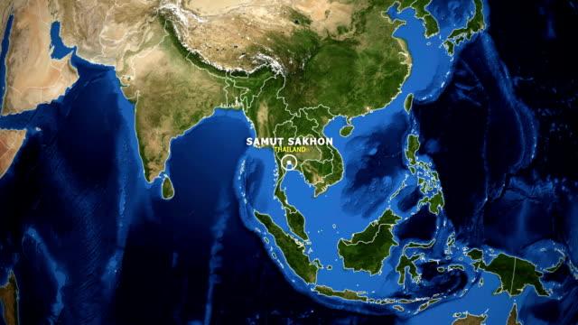 jorden zooma i kartan - thailand samut sakhon - ekvatorn latitud bildbanksvideor och videomaterial från bakom kulisserna