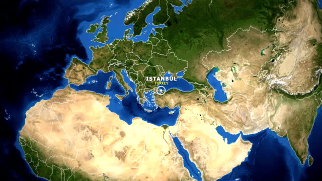 earth zoom in map - turkey istanbul - istanbul video stock e b–roll
