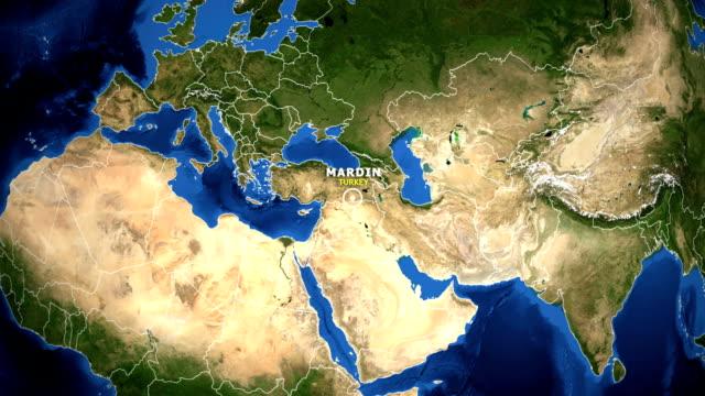 EARTH ZOOM IN MAP - TURKEY MARDIN TURKEY MARDIN ZOOM IN FROM SPACE mardin stock videos & royalty-free footage