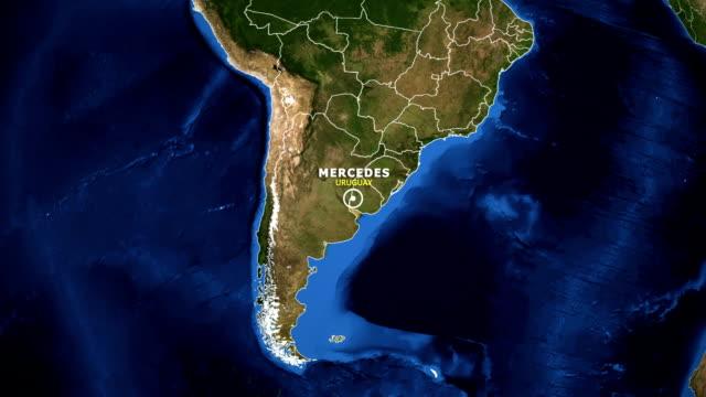 EARTH ZOOM IN MAP - URUGUAY MERCEDES URUGUAY MERCEDES ZOOM IN FROM SPACE mercedes uruguay stock videos & royalty-free footage