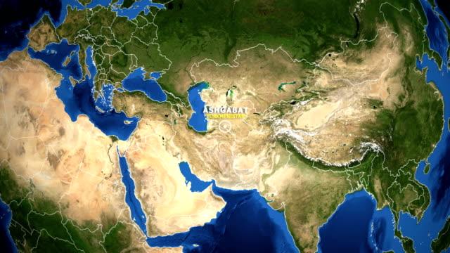 EARTH ZOOM IN MAP - TURKMENISTAN ASHGABAT TURKMENISTAN ASHGABAT ZOOM IN FROM SPACE turkmenistan stock videos & royalty-free footage