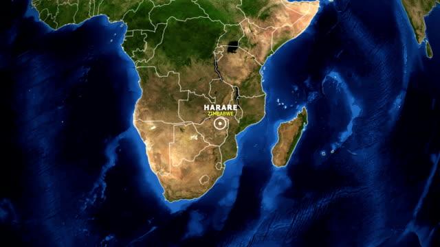 TERRA DE ZOOM NO MAPA - ZIMBABWE HARARE - vídeo