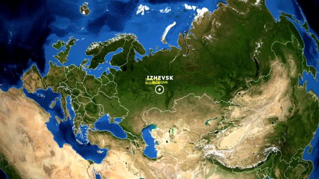 vídeos de stock e filmes b-roll de earth zoom in map - russian irkutsk - irkutsk