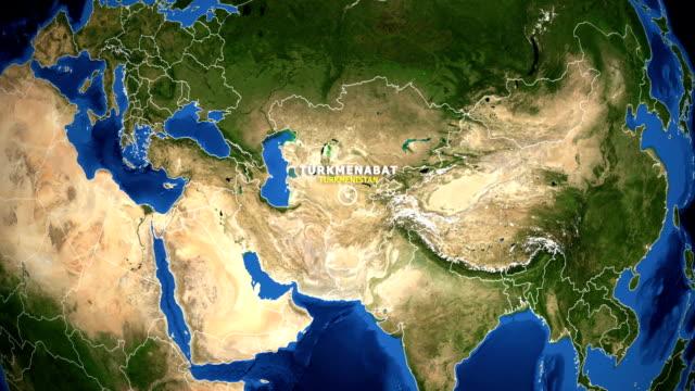 EARTH ZOOM IN MAP - TURKMENISTAN TURKMENABAT TURKMENISTAN TURKMENABAT ZOOM IN FROM SPACE turkmenistan stock videos & royalty-free footage