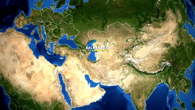 EARTH ZOOM IN MAP - TURKMENISTAN BALKANABAT TURKMENISTAN BALKANABAT ZOOM IN FROM SPACE turkmenistan stock videos & royalty-free footage