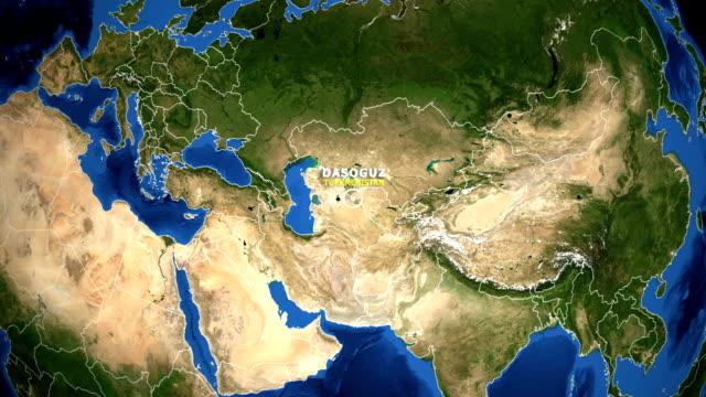 EARTH ZOOM IN MAP - TURKMENISTAN DASOGUZ TURKMENISTAN DASOGUZ ZOOM IN FROM SPACE turkmenistan stock videos & royalty-free footage