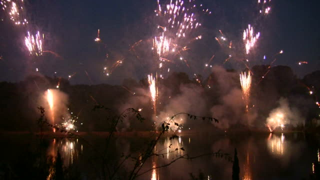 HD 1080i Fireworks with Sound 4 Fireworks display at night. petard stock videos & royalty-free footage